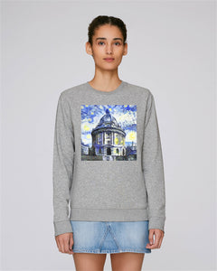 Radcliffe Camera Oxford organic cotton women's grey hoodie with art design
