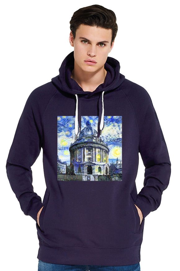 Radcliffe Camera Oxford organic cotton men's navy hoodie with art design