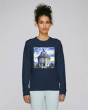 Radcliffe Camera Oxford organic cotton women's navy hoodie with art design
