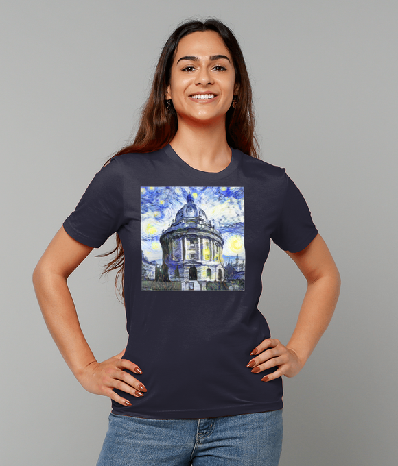 Radcliffe Camera Oxford University Ladies navy organic cotton t-shirt with art design