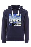 Sheldonian Oxford University  navy organic cotton hoodies with art design