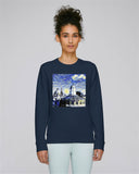 Sheldonian Spires of Oxford University Women's navy organic cotton sweatshirt with art design