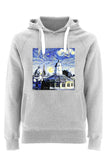 Sheldonian Oxford University grey organic cotton hoodies with art design