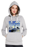 Sheldonian Oxford University Women's grey organic cotton hoodies with art design