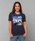 Oxford University Spires Women's Organic cotton navy t-shirt with art design