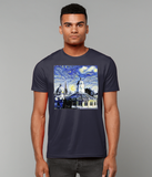 Oxford University Spires Men's Organic cotton navy t-shirt with art design