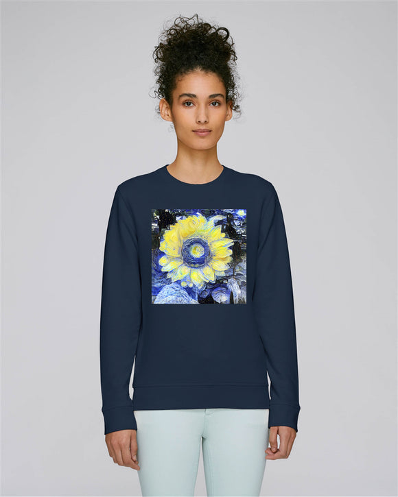 Van-Gogh sunflower organic cotton navy sweatshirt