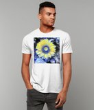 Van Gogh Sunflower men's white organic cotton  t-shirt