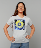 Van Gogh Sunflower ladies grey organic cotton  t-shirt