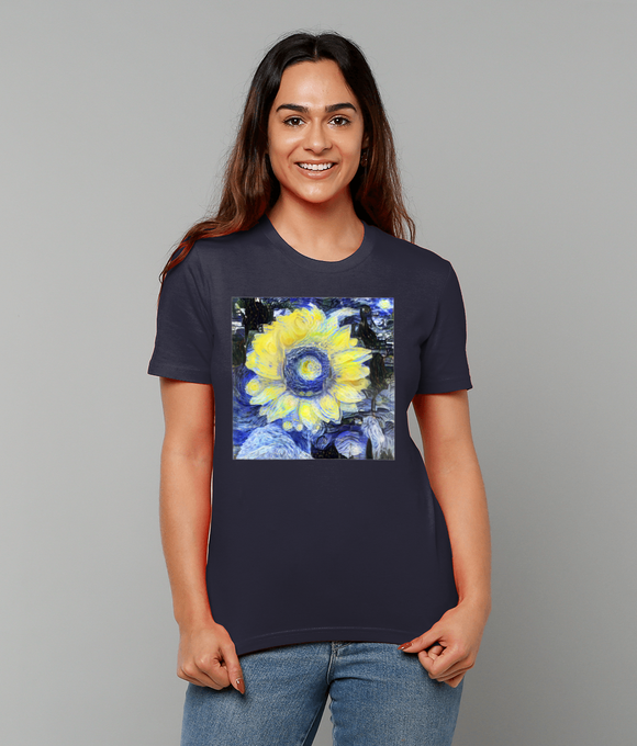 Van Gogh Sunflower ladies navy organic cotton  t-shirt