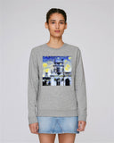 Trinity College Oxford organic cotton women's grey sweatshirt with art design