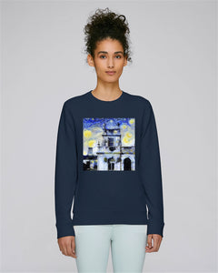 Trinity College Oxford organic cotton ladies navy sweatshirt with art design