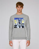 Trinity College Oxford organic cotton men's grey sweatshirt with art design
