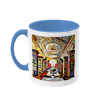 Queens college oxford library mug light blue