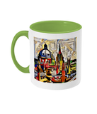 Oxford Spires mug with light green handle