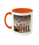 Exeter College Oxford mug with orange handle