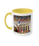Exeter College Oxford mug with yellow handle