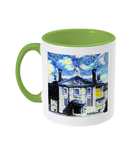 Lady Margaret Hall LMH College Oxford Alumni mug with light green  handle