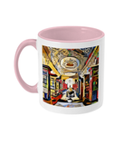 Queens college oxford library mug pink