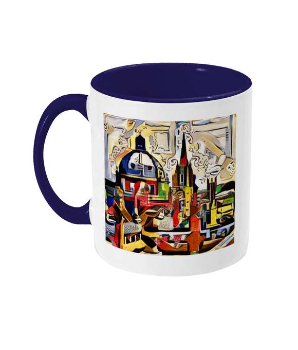 Oxford Spires mug with navy handle