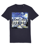Oriel College Oxford University unisex navy organic cotton t-shirt with art design