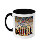 Exeter College Oxford mug with black handle