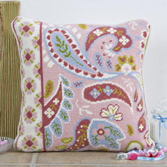 Pink Paisley Border Tapestry Cushion Kit