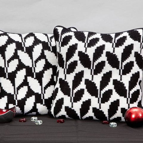 Twilleys Monochrome Leave Cross Stitch Cushion Kit UK