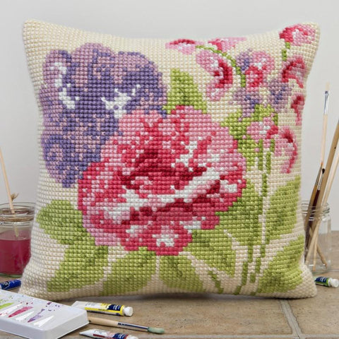 Summer Blooms Tapestry Cross Stitch Cushion Kit UK