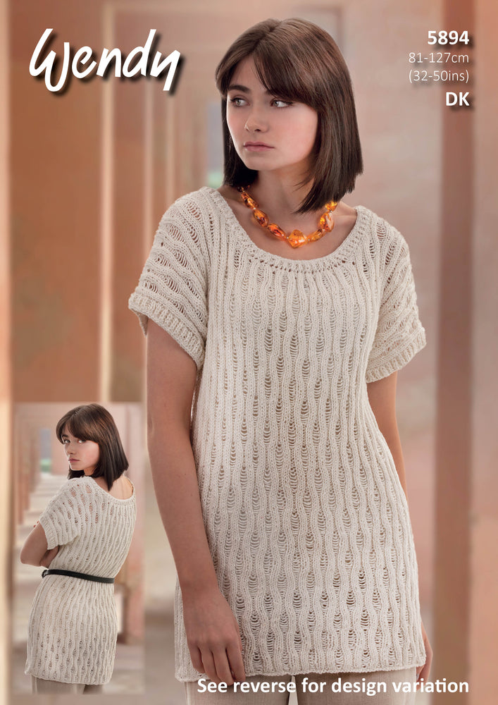 Tunic, short top and top with ribbed sleeves