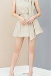 Side-pleated shorts with Belted detail