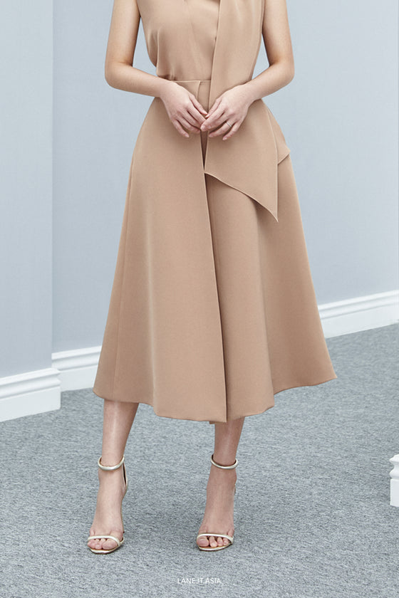 Basic Midi Skirt with Front Pleated