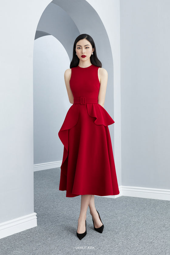 RANDOLPH Midi Dress with Belt