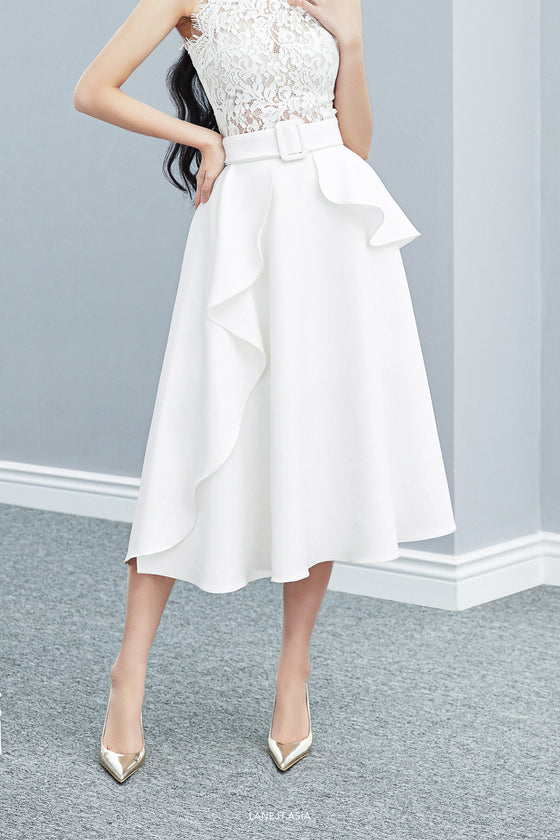 Ruffle Belt Midi Skirt