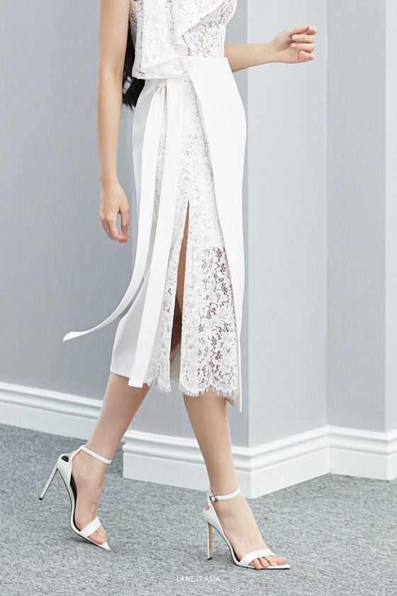 Tie-side Lace Midi Skirt