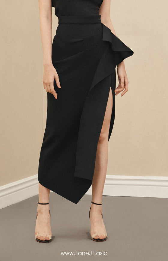 Midi Skirt With Ruffle Side Slit