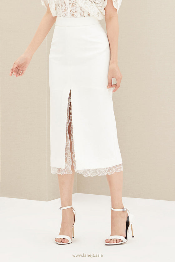 Slit Midi Skirt With Lace