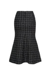 SÉRÉNA black tweed midi skirt