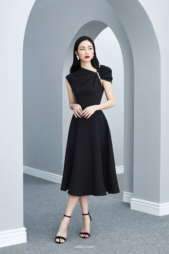 CLAUDE Twist Bow Midi Dress