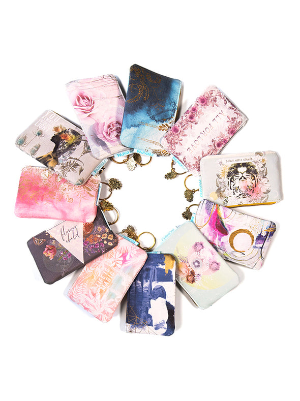 collection of coin purses in circle
