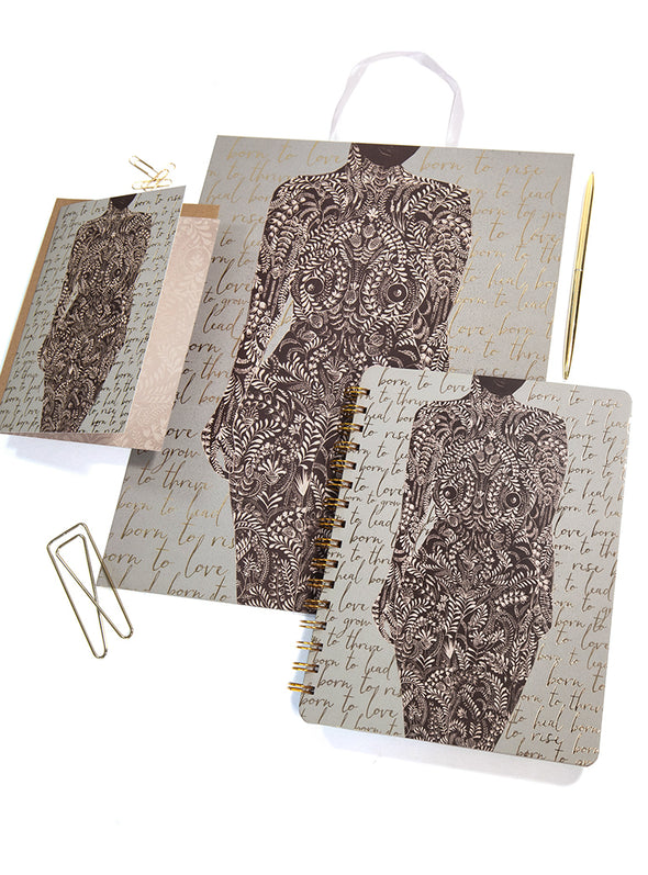 living woman art and stationery set