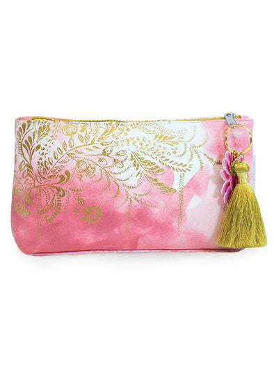 blush watercolor small tassel pouch front