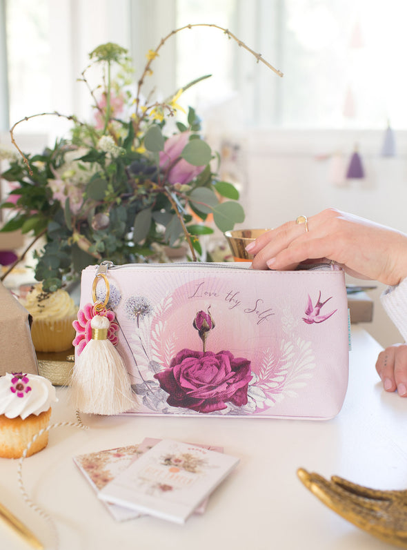 lavender rose tassel pouch lifestyle party