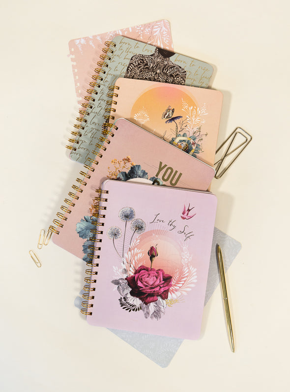 collage of spiral notebooks