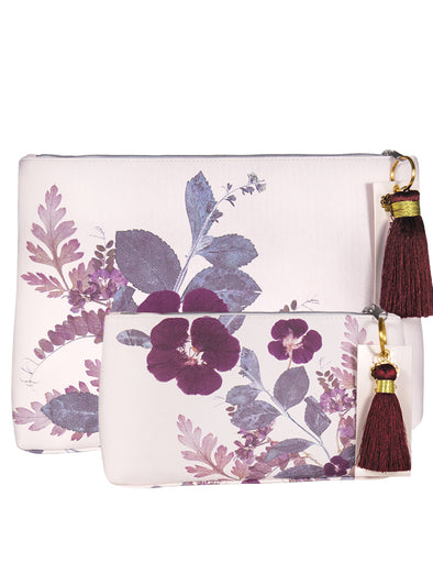 Plum Leaves Tassel Pouch Set