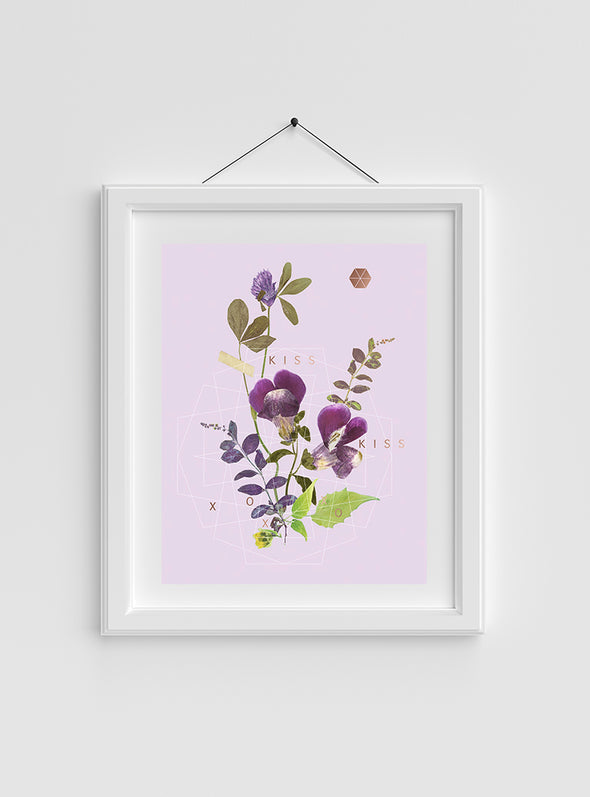 Kiss Kiss Art Print in frame