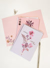pink flower greeting cards and pen
