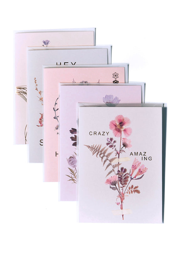 stack of 6 pink greeting cards
