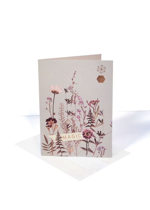 magic flower bed greeting card
