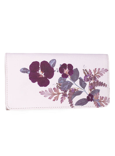 Plum Leaves Tri-Fold Wallet